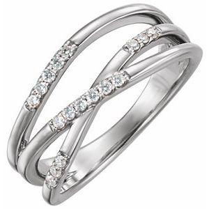 14K White 1/6 CTW Diamond Criss-Cross Ring