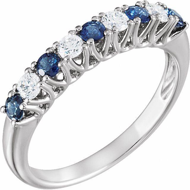 14K White Blue Sapphire & 1/4 CTW Diamond Anniversary Band