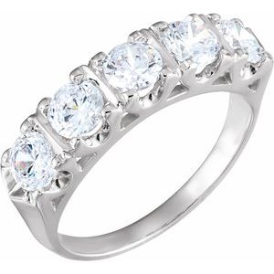 14K Yellow 4.5 mm Round Forever One™ Moissanite Anniversary Band