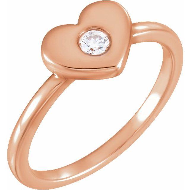 14K Rose .03 CTW Diamond Heart Ring