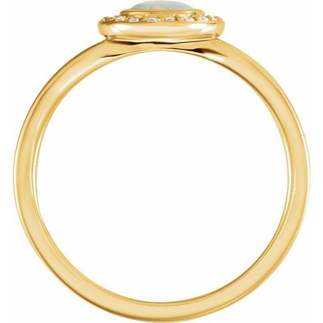 14K Yellow Opal & .07 CTW Diamond Halo-Style Ring