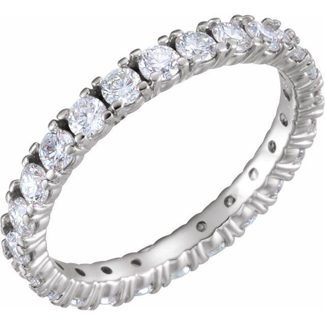 14K White 1 3/8 CTW Diamond Eternity Band Size 6