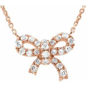 "14K Rose 1/6 CTW Diamond Bow 18"" Necklace"