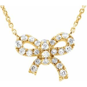 "14K Yellow 1/6 CTW Diamond Bow 18"" Necklace"