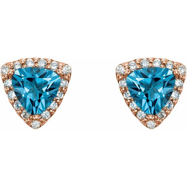 14K Rose Swiss Blue Topaz & .08 CTW Diamond Earrings