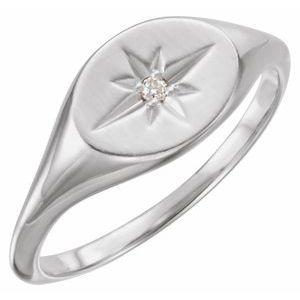14K White .02 CT Diamond 10x8 mm Oval Starburst Signet Ring