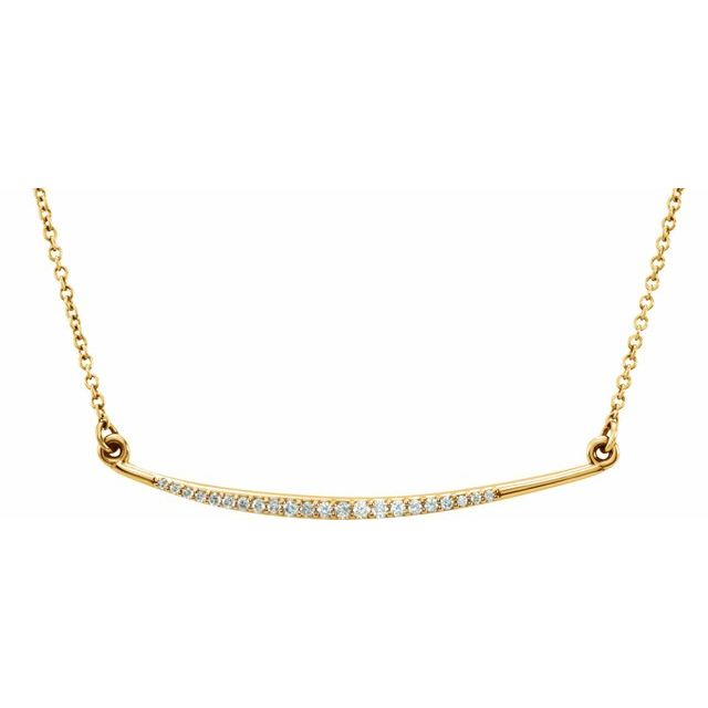 14K Yellow 1/8 CTW Diamond Curved Bar 16