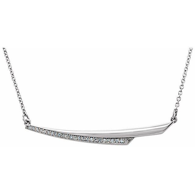 14K White .08 CTW Diamond Bar 17.5