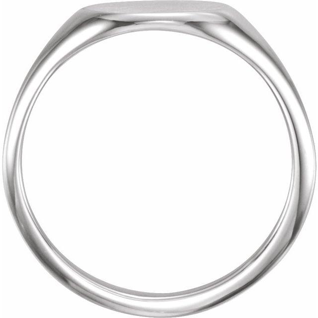 14K White 11x9 mm Oval Signet Ring
