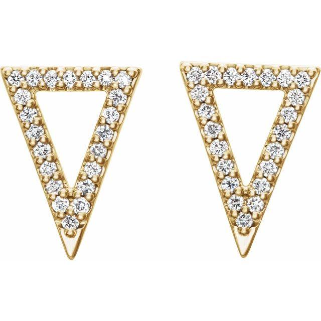 14K Yellow 1/5 CTW Diamond Triangle Earrings