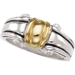 Sterling Silver & 14K Yellow Freeform Ring
