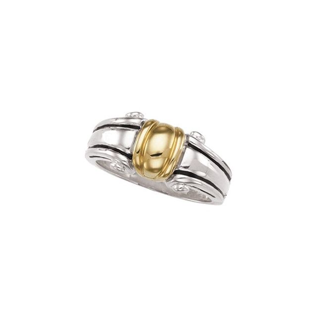 Sterling Silver & 14K Yellow Freeform Ring