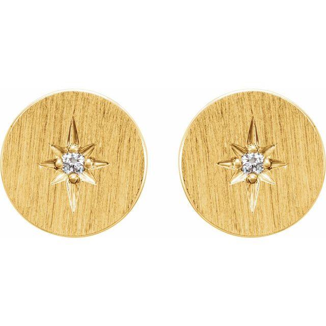 14K Yellow .02 CTW Diamond Earrings