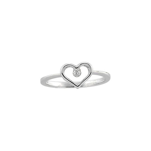 14K White .02 CT Diamond Heart Ring