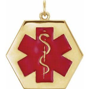 14K Yellow & Red Enamel 25x22 mm Engravable Medical Identification Pendant