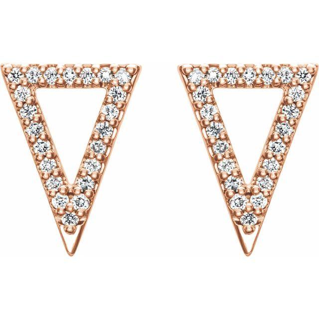 14K Rose 1/4 CTW Diamond Triangle Earrings