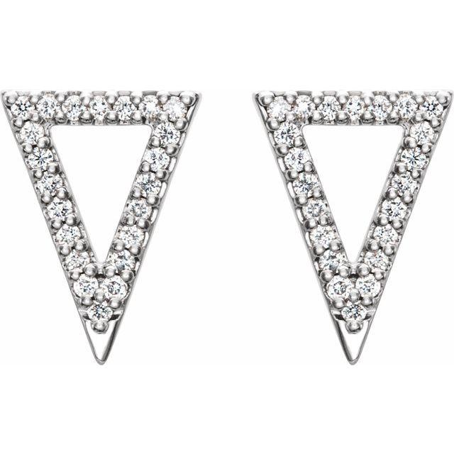 14K White 1/4 CTW Diamond Triangle Earrings