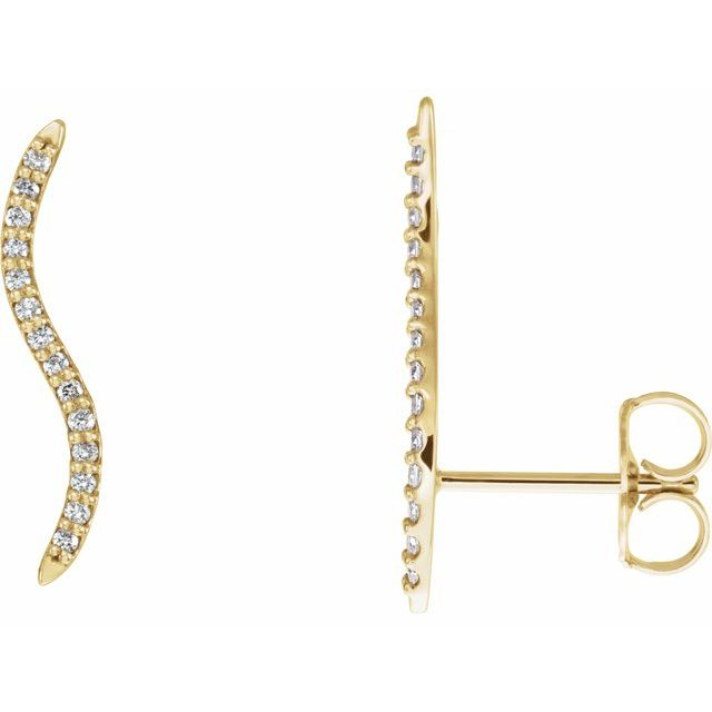 14K Yellow 1/6 CTW Diamond Ear Climbers