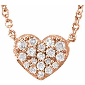 "14K Rose 1/10 CTW Diamond Heart 18"" Necklace"