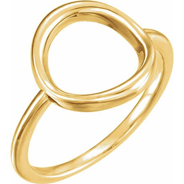 14K Yellow Circle Ring