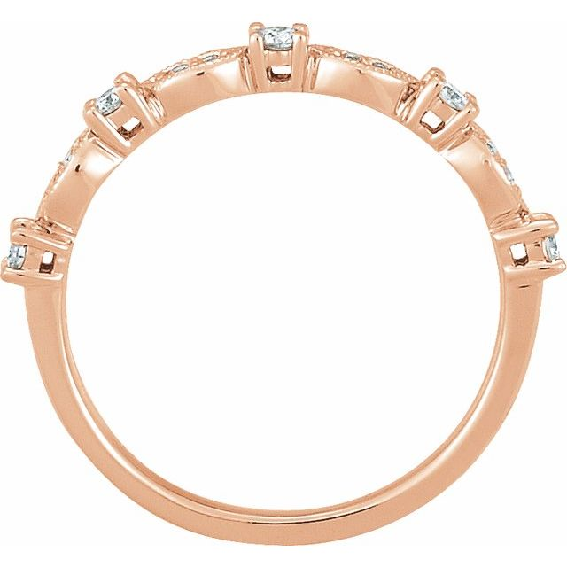 14K Rose 1/5 CTW Diamond Granulated Stackable Ring Size 7