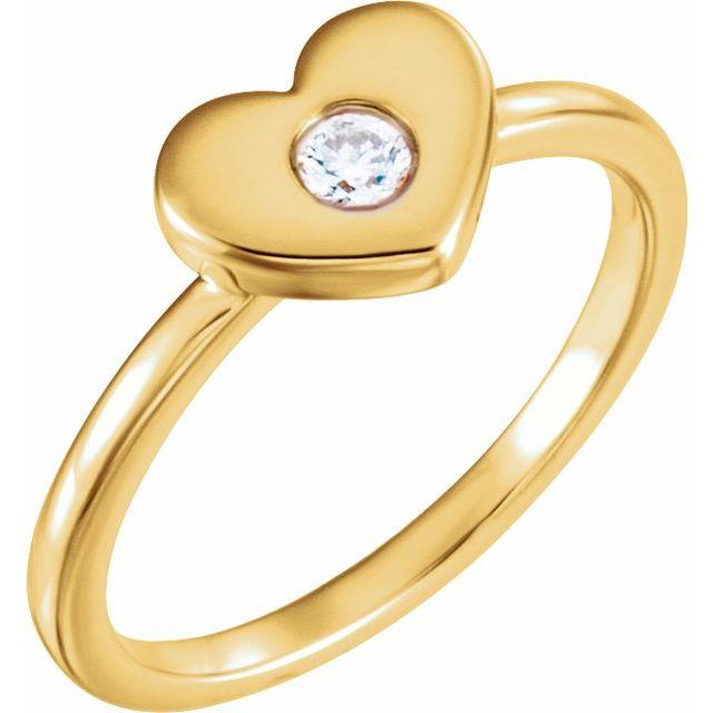 14K Yellow .03 CTW Natural Diamond Heart Ring