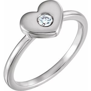 14K White .03 CTW Diamond Heart Ring