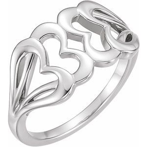 14K White Heart Ring