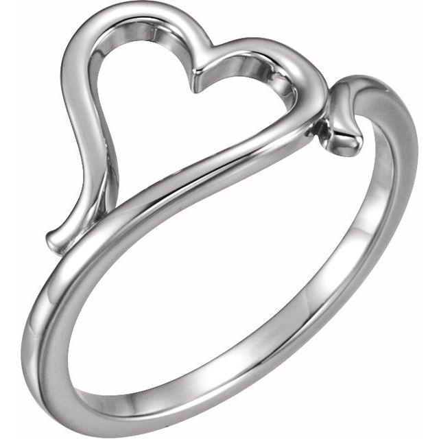 14K White Heart Ring