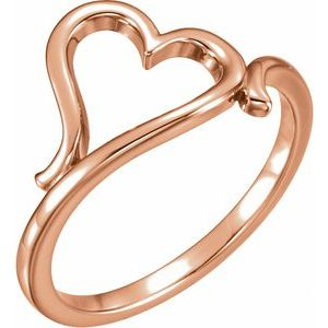 14K Rose Heart Ring