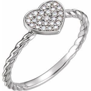 14K White 1/8 CTW Diamond Heart Rope Ring