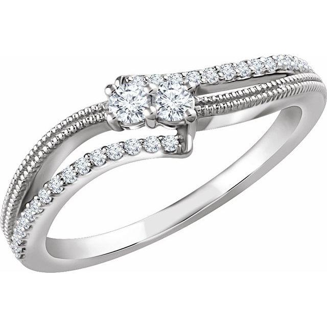 14K White 1/4 CTW Diamond Two-Stone Ring