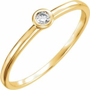 14K Yellow .06 CTW Diamond Bezel-Set Solitaire Ring