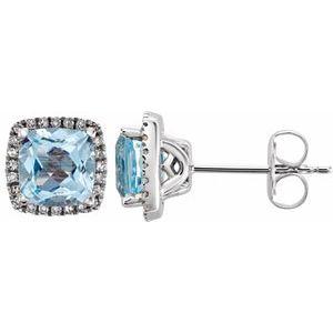 14K White Sky Blue Topaz & 1/8 CTW Diamond Earrings