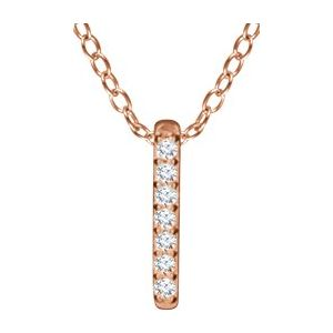 "14K Rose .05 CTW Diamond Bar 16-18"" Necklace"