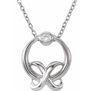 "Sterling Silver .03 CT Diamond ""XO"" 18"" Necklace"
