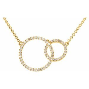 "14K Yellow 1/3 CTW Diamond Circle 18"" Necklace"