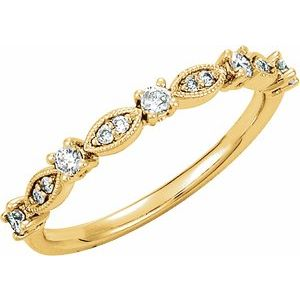 14K Yellow 1/5 CTW Diamond Granulated Stackable Ring Size 7