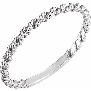 14K White 2 mm Twisted Rope Band