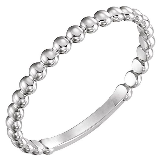 Sterling Silver 2 mm Stackable Bead Ring