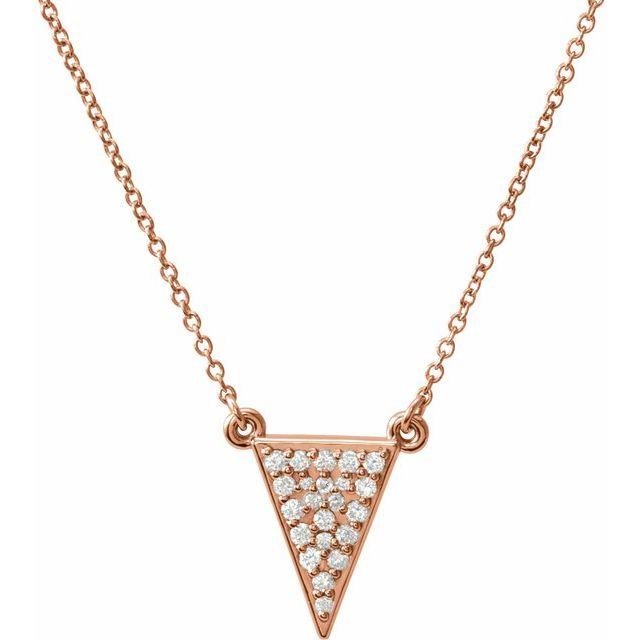 14K Rose 1/5 CTW Diamond Triangle 16.5