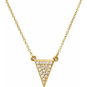 "14K Yellow 1/5 CTW Diamond Triangle 16.5"" Necklace"