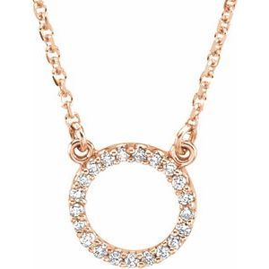 "14K Rose 1/10 CTW Diamond Circle 16"" Necklace"