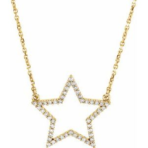 "14K Yellow 1/5 CTW Diamond Star 16"" Necklace"