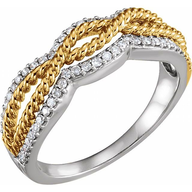 14K White & Yellow 1/4 CTW Diamond Ring