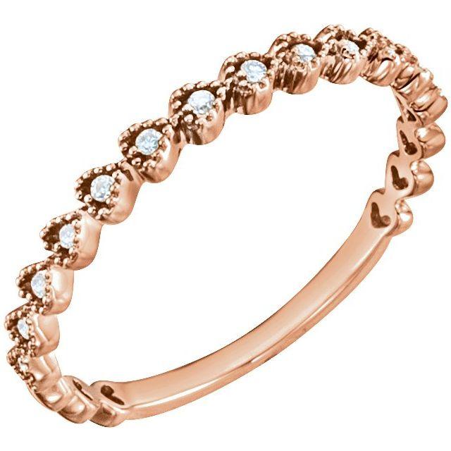 14K Rose .06 CTW Diamond Stackable Heart Ring