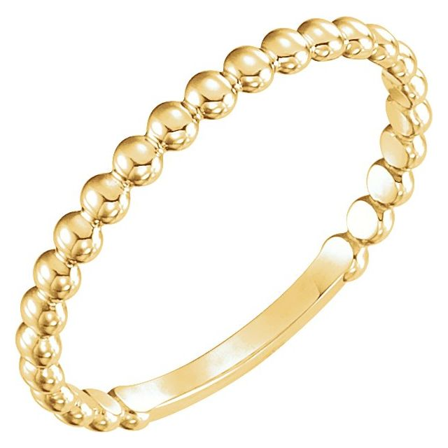 14K Yellow 2 mm Stackable Bead Ring