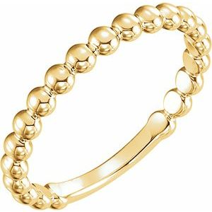14K Yellow 2.5 mm Stackable Bead Ring