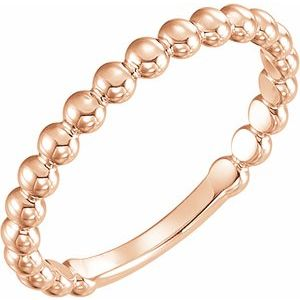 14K Rose 2.5 mm Stackable Bead Ring
