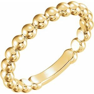 14K Yellow 3 mm Stackable Bead Ring